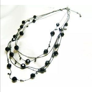 """Macy's Black Crystal Beaded Necklace  20"""" inch"""